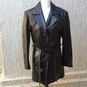 Wilsons leather coat jacket black belted  size M